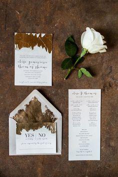 Современный дизайн свадебных приглашений - Золочение поталью