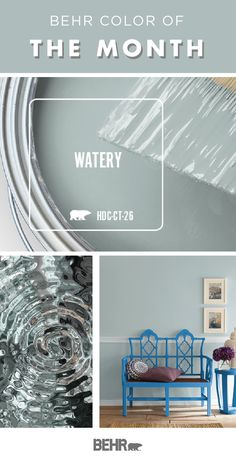Check out the Behr Paint Color of the Month: Watery. This soft blue hue is a gorgeous addition to the walls of your home. Combine with darker shades to create a monochromatic look or use neutral white and warm wood accents to create a traditional style. Behr Paint Colors, Paint Colors For Home, Coastal Paint Colors, Basement Paint Colors, Paint Color Schemes, Paint Colors Boys Room, Paints For Home, Paint Color Combinations, Paint Colors For Kitchen