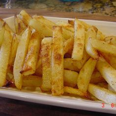 No-turn oven-baked fries. This is an all-time favorite in our house. One large russet potato will make enough for two.