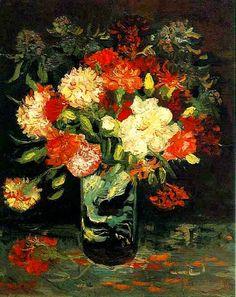 Vase with Carnations. Vincent van Gogh                                  Municipal Museum (Stedelijk Museum), Amsterdam. 1886. 46.0 x 37.5 cm