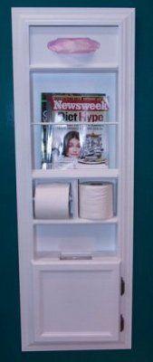 (MPU 2) Recessed Solid Wood Bathroom In The Wall Magazine Rack, Trash
