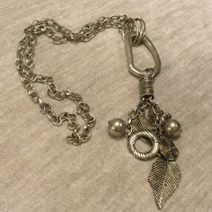 """NWOT FEATHER Pewter long necklace Measures 20"""" drop ..chain link necklace Luxe Jewelry Necklaces"""
