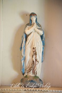 Antique French Virgin Mary Shrine, Statue in Wood Niche, Original Paint, Plaster Statue