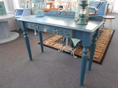 Console table, Anbusson, Duck Egg frottage new knobs and wood mouldings, mix of clear and dark waxes.