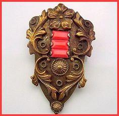 Art Nouveau Genuine Coral Gold Antiqued Metal Fur or Dress Clip