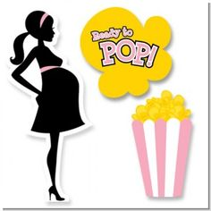 Ready To Pop Pink - Baby Shower Printed Shaped Cut-Outs. You will receive three cut outs in this set. A silhouette mom, a popcorn box and a popcorn kernel that reads ready to pop. This is a great touch to the table or a wall at your next ready to pop baby shower. You can also attach them to sticks or glue them on wrapped boxes.  #shopcnf #readytopop