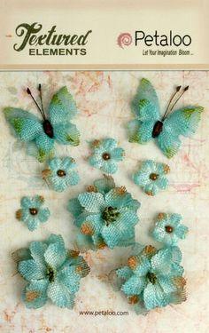 NEW: Petaloo Textured Elements  Burlap Blossoms TEAL  by Hennytj