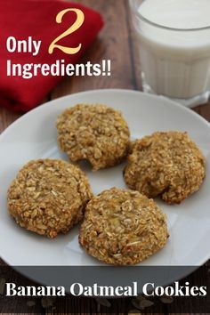 These Banana Oatmeal Cookies only use 2 Ingredients!!! Healthy Cookies, Healthy Banana Oatmeal Cookies, Healthy Sweets, Healthy Snacks, Healthy Recipes, Cookie Recipes, Snack Recipes, Dessert Recipes, Delicious Desserts