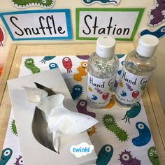 Primary school classroom - Cute Snuffle Station Help your class think about hygiene and ways to prevent those winter germs from spreading with your own classroom snuffle station! Thanks Nicole for sharing your idea You can Preschool Classroom, Classroom Setup, Classroom Organisation Primary, Primary School Displays, Year 1 Classroom Layout, Reception Classroom Ideas, Classroom Management Primary, Primary Classroom Displays, Teaching Displays