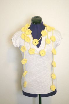 Yellow Fancy Flower Crochet Summer Lariat by LailasCharmingPieces
