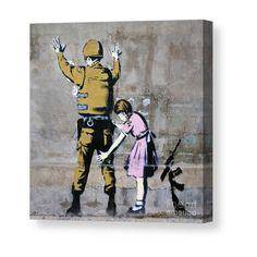 Banksy, soldier and girl, Bethlehem, Palestine Canvas Print / Canvas Art by Roberto Morgenthaler Street Art Banksy, Banksy Graffiti, Bansky, Banksy Palestine, Cheap Canvas Art, Bethlehem Palestine, Got Print, Stretched Canvas Prints, Canvas Material