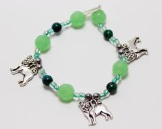 Blue Green Bead Stretch Bracelet with Pug Dog Charms by ThisPugLife, $10.00