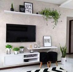 Home Design Decor, Home Room Design, Interior Design Living Room, Home Decor, Home Living Room, Living Room Decor, Living Room Tv Unit Designs, Ruang Tv, Fashion Bubbles