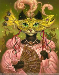 Mardi Gras Cat Painting// Cat print // Black Cat by JeffHaynieArt, $28.00