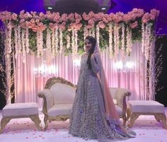 Enchanted garden theme backdrop with mush greenery and light pink flowers, perfect for this arab wedding, maharani reception backdrop ideas Call Wedding Hall Decorations, Wedding Reception Backdrop, Marriage Decoration, Engagement Decorations, Wedding Mandap, Desi Wedding, Decoration Table, Arab Wedding, Debut Stage Decoration