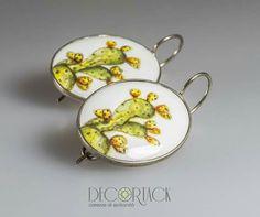 #Orecchini in Argento 925 con Fichi d'India dipinti a mano su Ceramica • Contattaci e Scopri come acquistarli