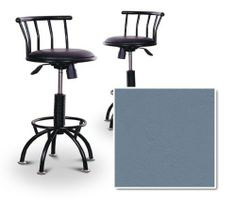 """2 24""""-29"""" Blue Vinyl Seat Black Metal Adjustable Custom Barstools (Allante Cadet Blue) by The Furniture Cove. $229.88. Allante Cadet Blue Vinyl Seat. Back Rest and Foot Rest. Swivel Seat. Black Metal Finish. 24"""" to 29"""" Adjustable Seat Height. These Black finish stools have a fitting appearance for a wide variety of places. They look and feel great and feature the Blue vinyl seat showed in the image. The frame is made of metal making it a strong, heavy duty stool...."""