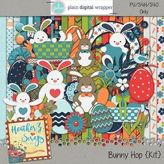 Bunny Hop {Kit} #plaindigitalwrapper #pdw #digitalscrapbook #scrapbook #pagekit #heatherzscraps