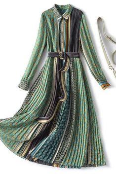 2021 Spring New Ethnic Style Casual Female Plus Size Irregular Printed Green Dress Long Sleeve For Woman Dress P, Wrap Dress, Shirt Dress, Dress Long, Duster Coat, Raincoat, One Piece, Elegant, Unique