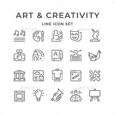 Buy Set Line Icons of Art and Creativity by moto-rama on GraphicRiver. Set Line Icons of Art and Creativity Isolated on White Icon Design, Logo Design, Design Art, Star View, Best Icons, Home Icon, Thank You For Purchasing, Tag Art, Icon Set