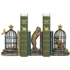 Trading Places Black and Gold Cat Bookends Set ($82) ❤ liked on Polyvore featuring home, home decor, small item storage, books, decor, fillers, props, home accessories, black bookends and book-end
