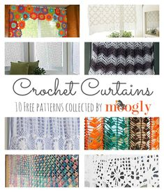 It's curtains for this roundup! Don't worry, it's just beginning – and it's chock full of 10 free crochet curtain patterns! Perfect for reinvigorating your home for the coming season! Crochet Curtain Pattern, Crochet Curtains, Floral Curtains, Curtain Patterns, Roman Curtains, Patterned Curtains, Layered Curtains, Purple Curtains, French Curtains