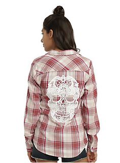 <p>For all you girly lumberjacks out there, this plaid's for you! Pink and ivory plaid woven top with a white sugar skull screen print on the back and mauve buttons. </p>  <p>Hot Topic exclusive!</p>  <ul> 	<li>60% cotton; 40% polyester</li> 	<li>Wash cold; dry low</li> 	<li>Imported</li> 	<li>Listed in junior sizes</li> </ul>