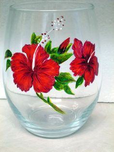 Twin Red Hibiscus Wine Tumbler by cassidy808 on Etsy, $15.00