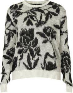 Knitted Brushed Floral Jumper on shopstyle.com