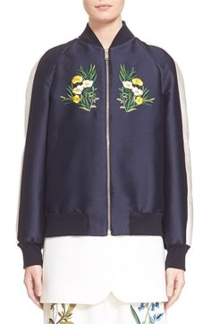 Stella McCartney 'Lorinda' Floral Embroidered Bomber Jacket available at #Nordstrom