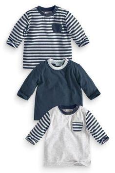 Kopen Set van drie gestreepte, gemêleerd grijze en marineblauwe T-shirts (0-18maanden.) nu online op Next: Nederland