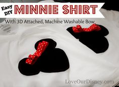 Love Our Disney: Easy DIY Minnie Shirts With Attached, Washable 3D Bow #craft #Disney #DIY #Shirt