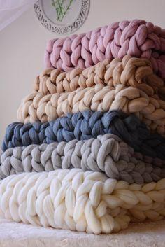 Giant Blanket Merino Wool Blanket Chunky Knit Blanket Knitted Blanket Arm Knit Blanket Chunky Wool Blanket Home Knit decor Gift 2019 Giant Blanket Merino Wool Blanket Chunky Knit Blanket Large Knit Blanket, Knot Blanket, Chunky Knit Throw, Chunky Blanket, Crib Blanket, Knitted Blankets, Merino Wool Blanket, Cozy Blankets, Arm Knitting