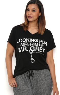 Deb Shops Plus Size short sleeve v neck burnout tee with looking for Mr. Grey $13.65