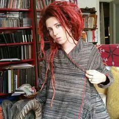 Red dread dreadlocks rasta boho etno jacket