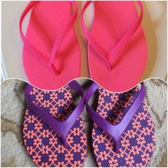 💖Like new Vera Bradley flip flop bundle💖 TWO PAIRS of flip flops in EXCELLENT LIKE NEW condition...Hot pink ones are Old navy size 8. Still has plastic tags attached. 💖💖. Purple and peach pair are Vera Bradley size 7-8. From a pet and smoke free home. ❌NO TRADES❌ Vera Bradley Shoes