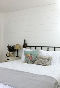 Nine Fixer Upper Style Shiplap Ideas: Great ways to add modern farmhouse charm to your kitchen, bedroom, kid's room, nursery and more! Home Renovation, Home Remodeling, Bedroom Remodeling, Girls Bedroom, Guest Bedrooms, Bedroom Decor, Bedroom Ideas, Master Bedroom, Wall Decor