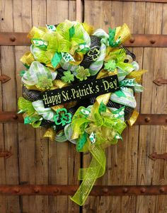Your place to buy and sell all things handmade Luck Of The Irish, Porch Decorating, Deco Mesh, St Patricks Day, Celebration, Easter, Craft Ideas, Decorations, Wreaths