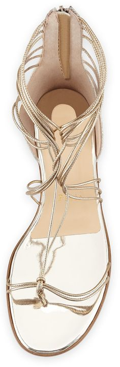 Christian Louboutin Blanca Metallic Gladiator Sandal, Light Gold/Ivory