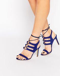 92b75923316b0 Image 1 of Public Desire Blue Tie Up Heeled Sandals Hot Heels