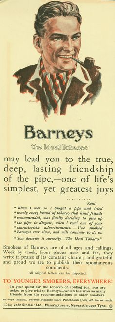 """Brand: Barney's  Manufacturer: John Sinclair Ltd.  Campaign: Pipes  Theme: Cigars & Pipes  Keywords: man, male, clergyman, West, young, youth  Quote: """"To Younger Smokers, Everywhere!"""""""