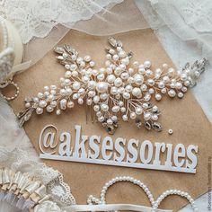 Свадебный гребень из натурального жемчуга - серебряный, гребень для волос, гребень, гребень для невесты