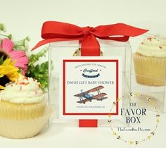 8 Baby Shower Favor Cupcake Boxes Airplane Baby Shower