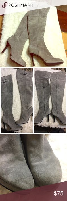 "Grey suede thigh high heel boots. Sexy! Sexy with a dress or wear them over skinny pants! Luxe grey suede over-the-knee boots. Labeled: Euro size 38, which will fit US women's 7.5. Inside 3/4 zip. When laid flat, the boots measure 4.5"" across the ankle, 7"" (flat) mid-shaft, and 8.5"" at the top. 3"" heel. Minor flaws, as pictured. (Priced accordingly.) 🚫NO TRADES Shoes Over the Knee Boots"