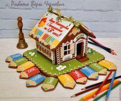 """Купить """"Карандаши"""" - большой пряничный домик в подарок учителю или выпускнику - пряник, расписные пряники"""