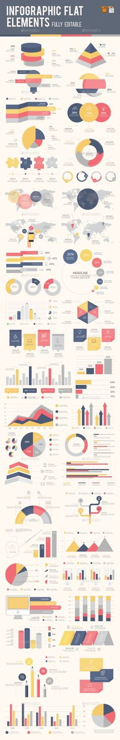 Best infographic flat elements by Graphisches Design, Graphic Design Tips, Chart Design, Graphic Design Inspiration, Layout Design, Design Elements, Information Visualization, Data Visualization, Infographic Templates