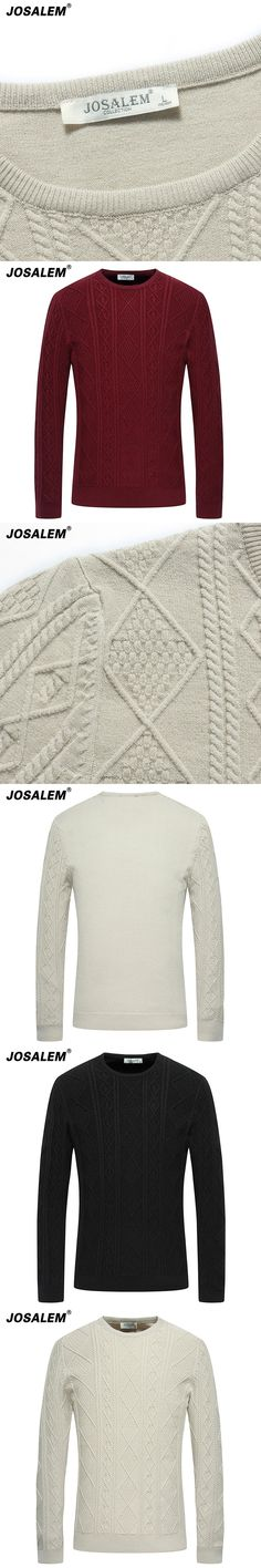 JOSALEM Fashion Solid Cotton Men Sweater 2017 Autumn Winter New O-neck Black White Knitwear Mens Knitted Pollover Plus Size 4xl