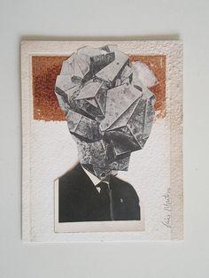 MENTE CUADRICULADA - Collage - 10x12,3 cm. - Luis Montero