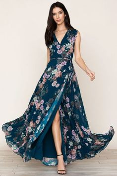 Yumi Kim's Sashay Away floral maxi dress. The elegant ink floral wrap dress includes full sweeping skirt, a self-tie waist, and snap chest closure. Fully lined. Short Beach Dresses, Sexy Dresses, Beautiful Dresses, Dress Outfits, Fashion Dresses, Summer Dresses, Awesome Dresses, Maxi Wrap Dress, Floral Maxi Dress