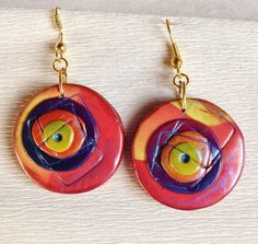 Polymer clay earrings  Unique by ImpastArte on Etsy